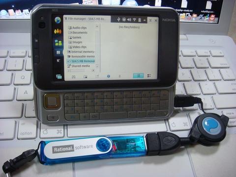 N810 + USB ホストケーブル + フラッシュディスク