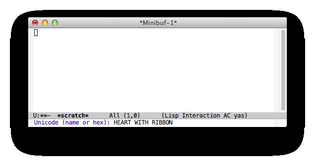 Emacs24 HEART WITH RIBBON の入力